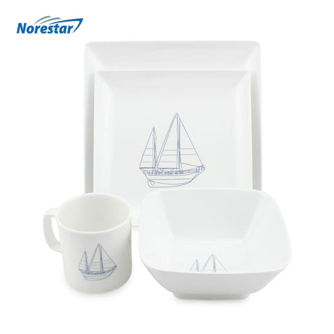 20 Piece Melamine Galleyware Dish Set, Nautical Collection