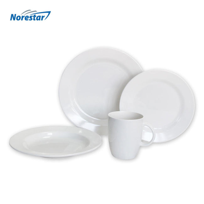16 Piece Non-Skid Melamine Galleyware, Solid White Collection