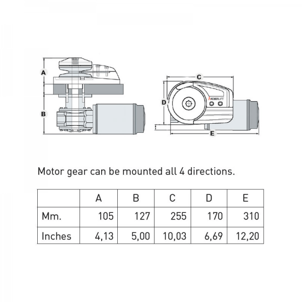 Anchorlift Mako 1500 Low Profile Windlass - Diagram