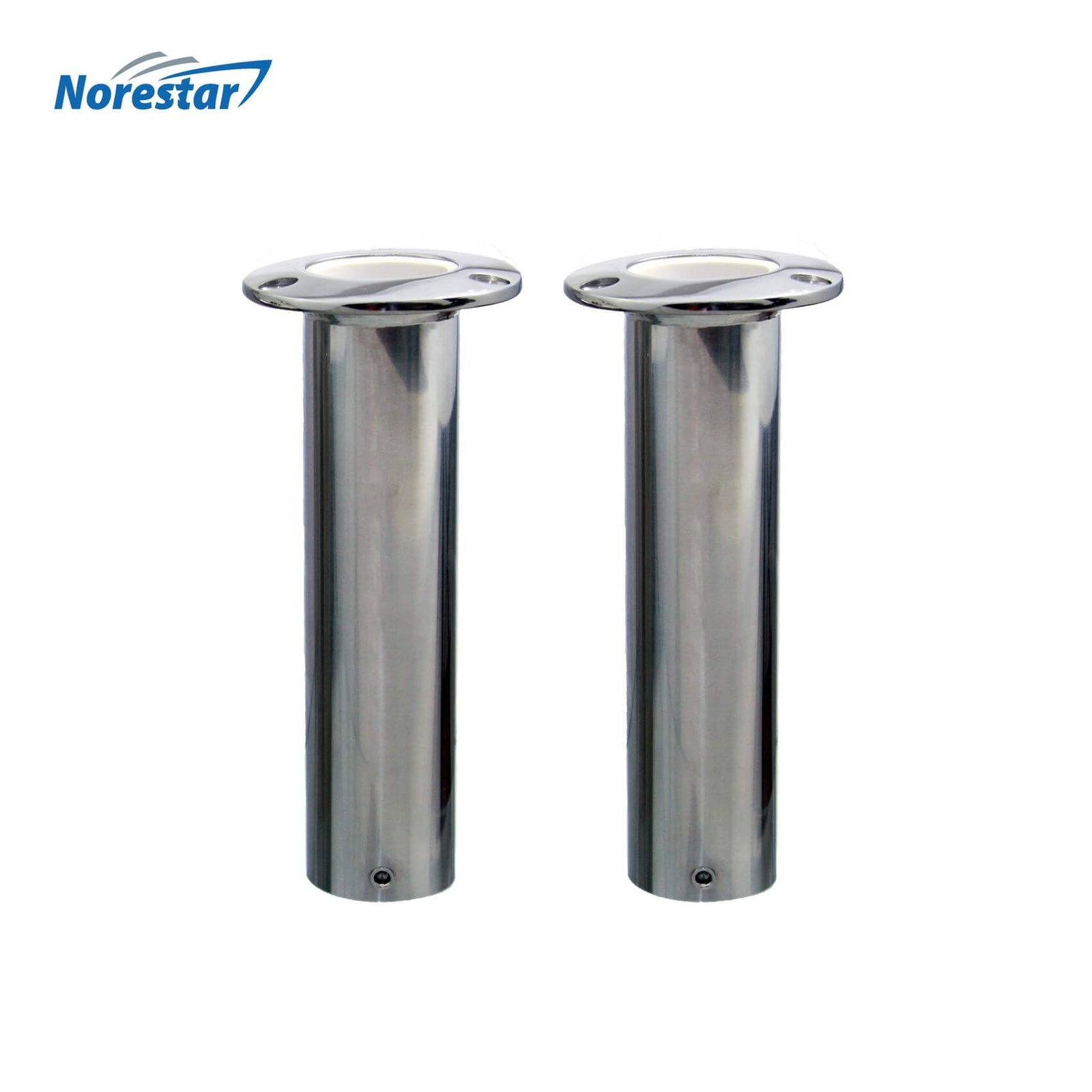 Two Flush Mounted Stainless Steel Rod Holders, Straight