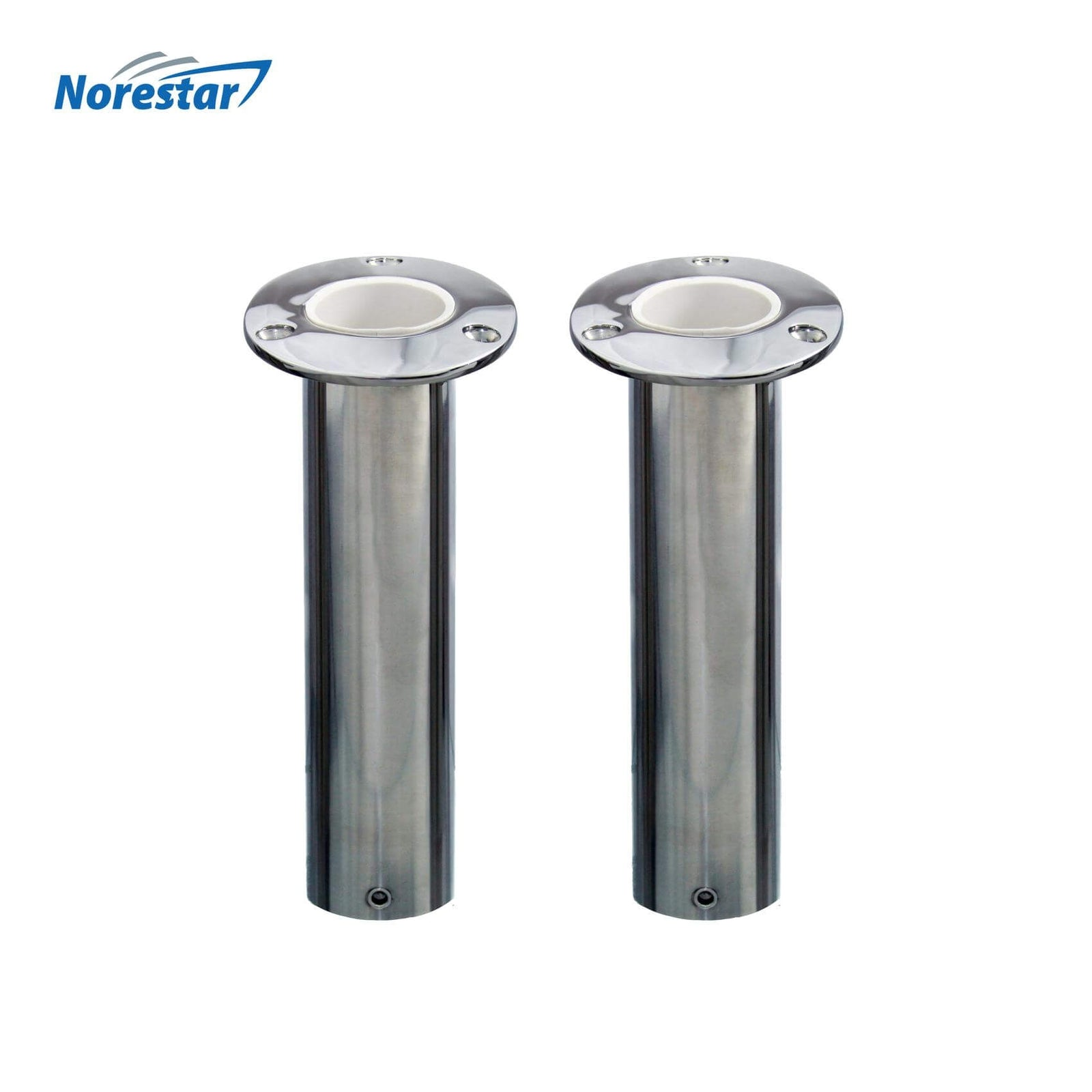 Two Flush Mounted Stainless Steel Rod Holders, Angled 15 Degrees