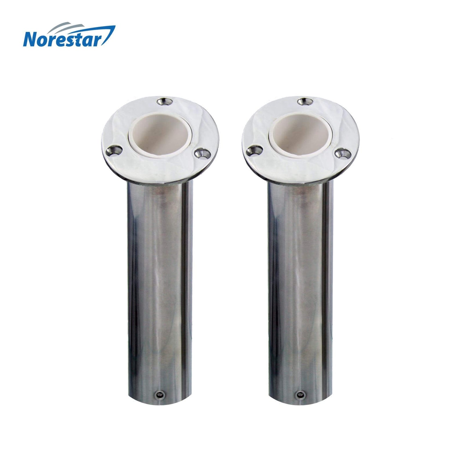 Two Flush Mounted Stainless Steel Rod Holders, Angled 30 Degrees