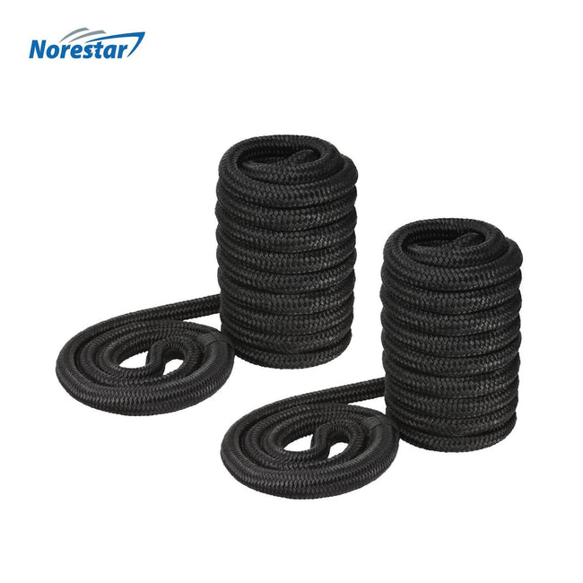 Two Norestar Braided Nylon Dock Lines, Black