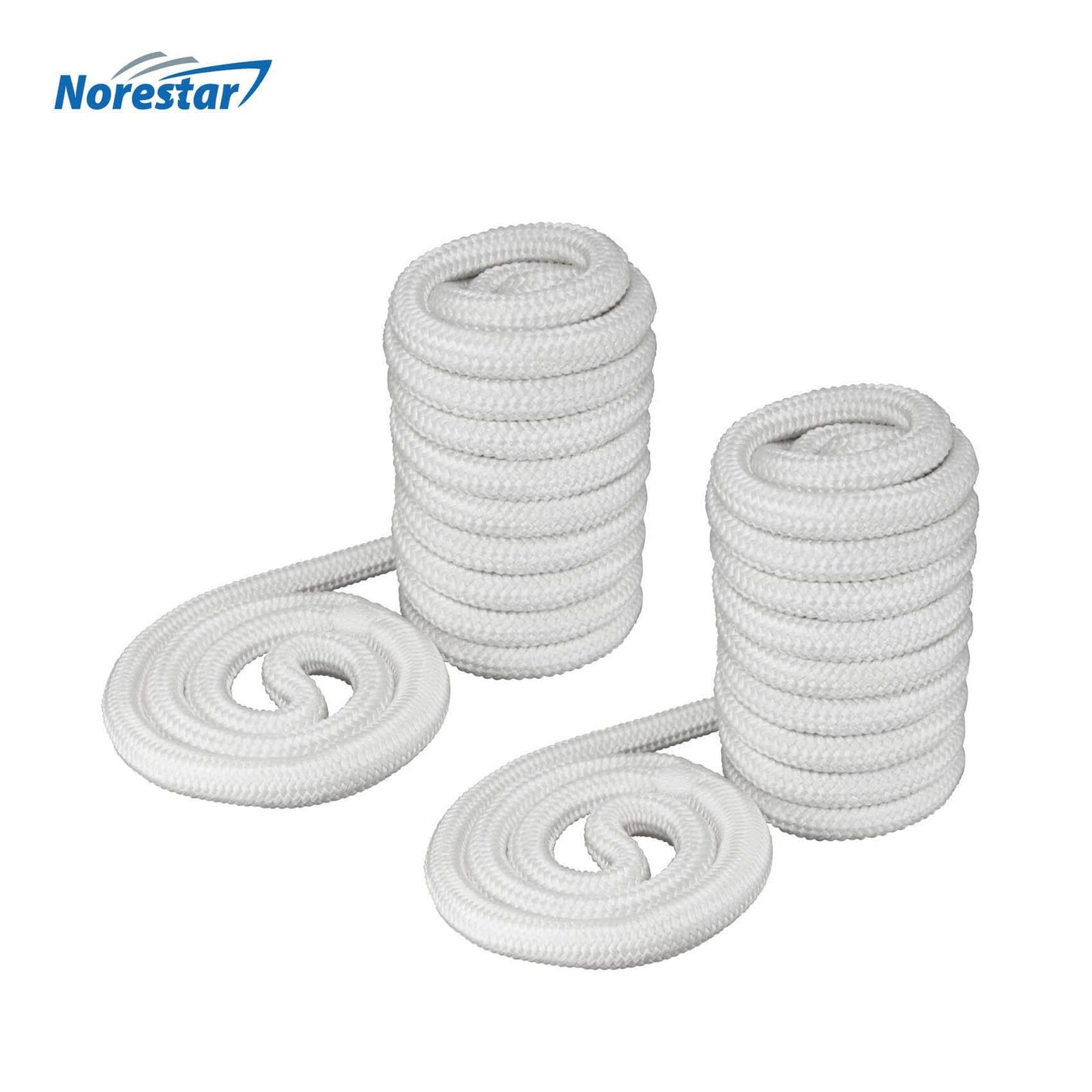 Two Norestar Braided Nylon Dock Lines, White