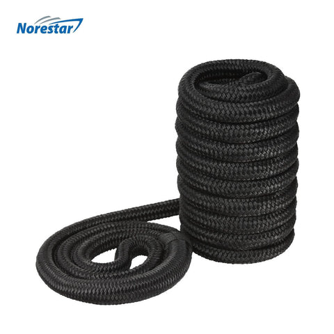 High-Visibility Reflective Double-Braided Nylon Dock Line, Black
