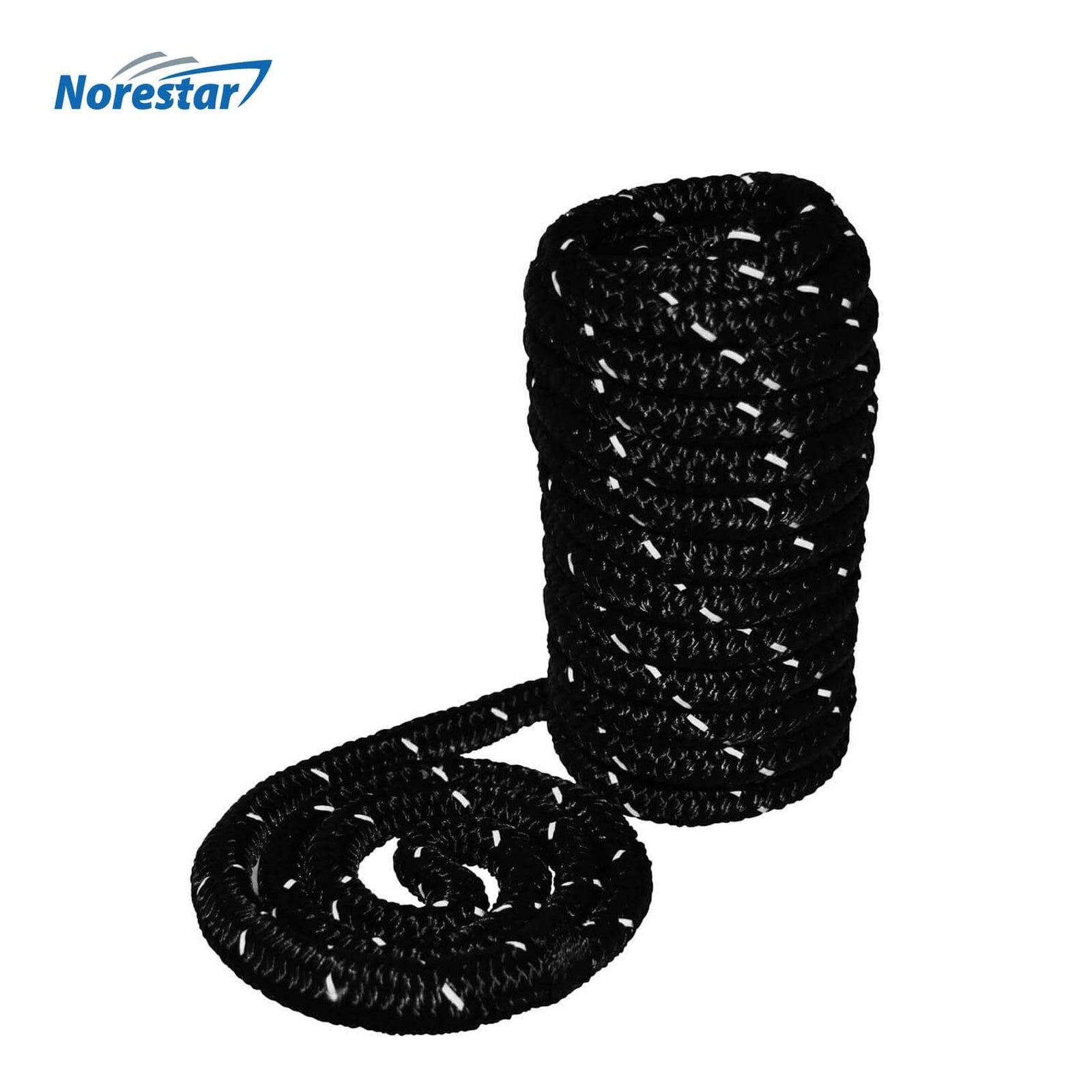 High-Visibility Reflective Braided Nylon Dock Line, Black - in Low Light