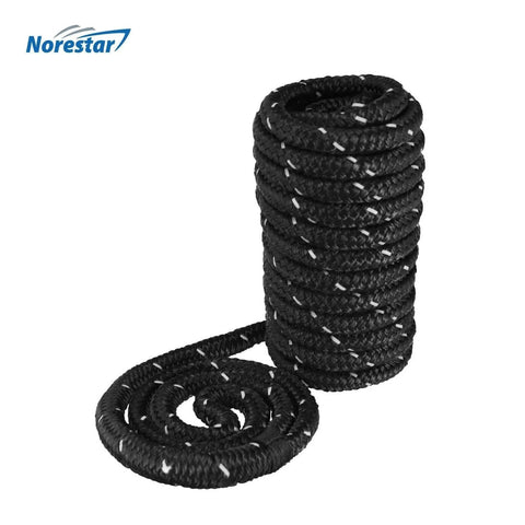 Set of Two High-Visibility Reflective Double-Braided Nylon Dock Lines, Black
