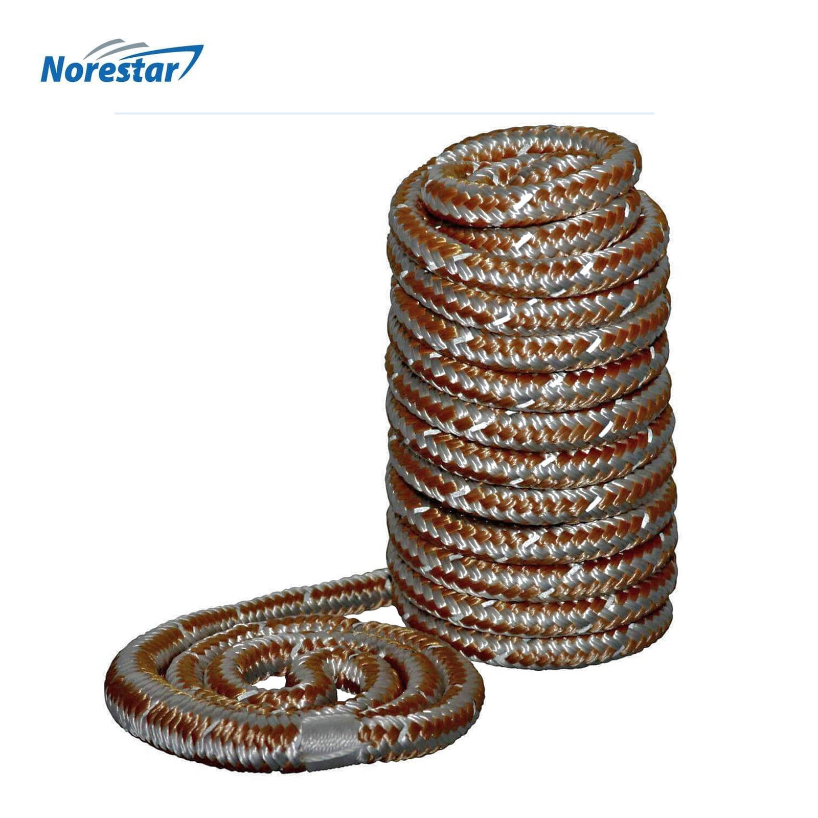 High-Visibility Reflective Braided Nylon Dock Line, Gold - in Low Light