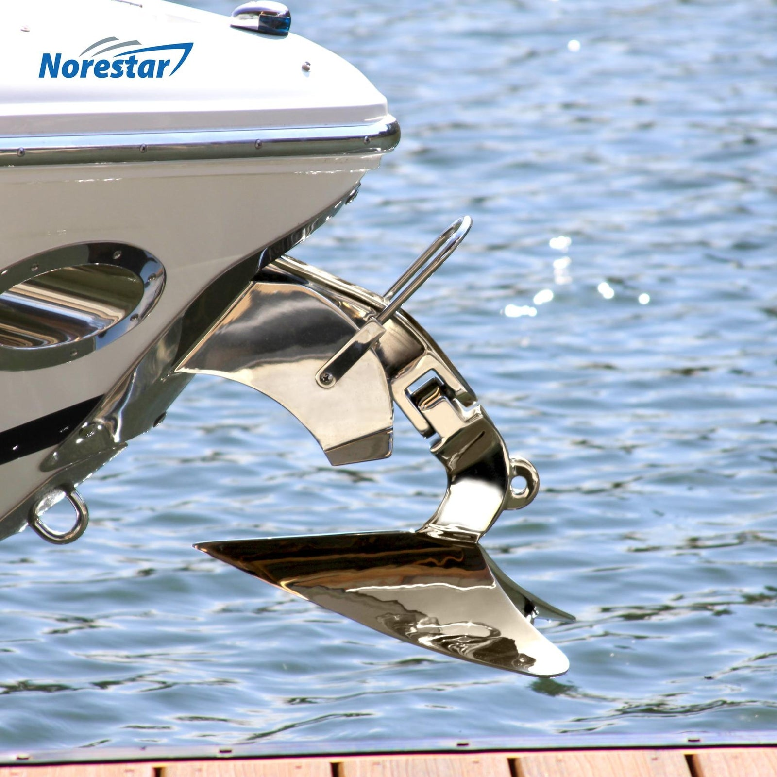 Norestar Stainless Steel Plow-Style Boat Anchor On Boat  Side