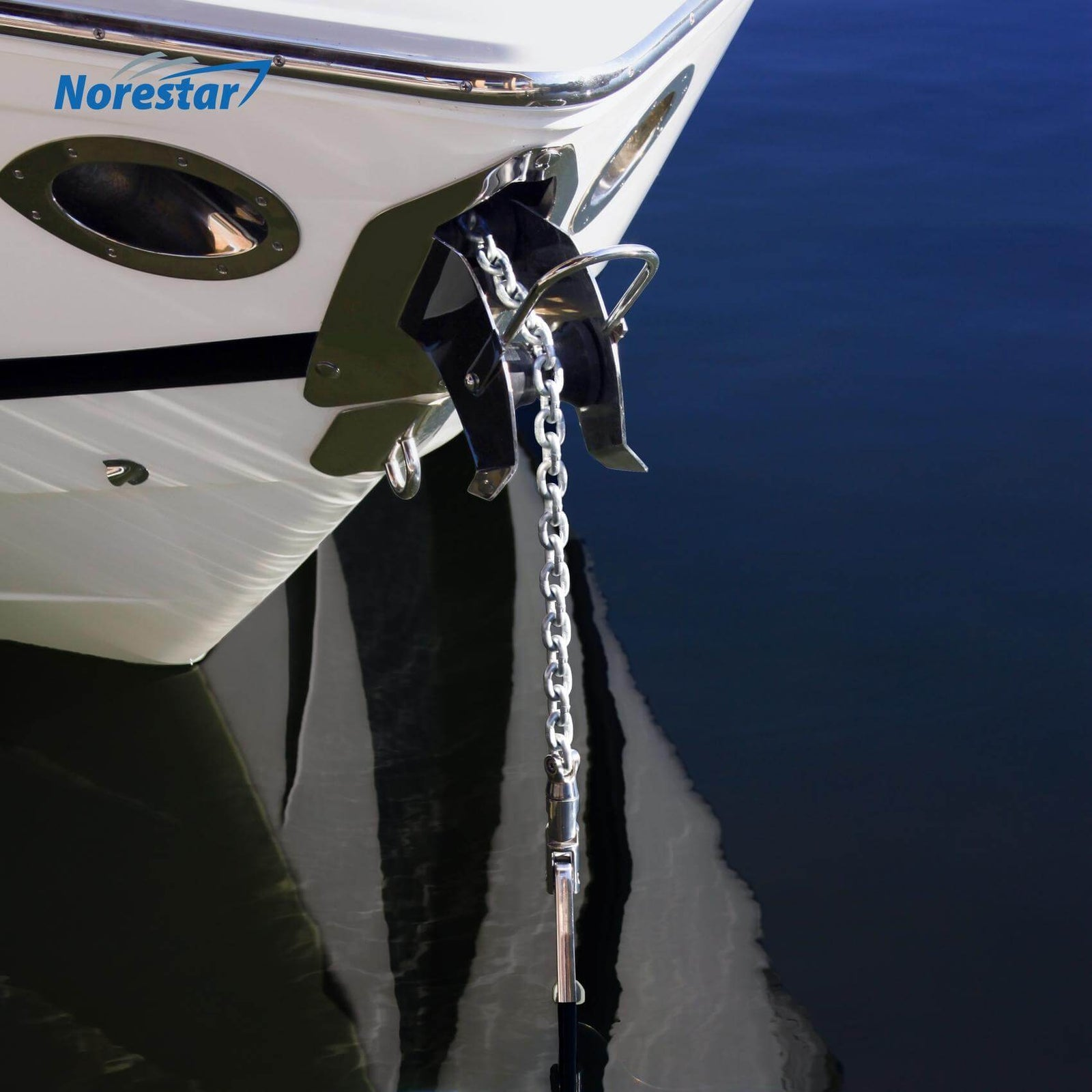 Norestar Double-Braided Nylon Anchor Rode (Windlass Rode): Anchor Rope Pre-Spliced with HT G4 Chain - In Use