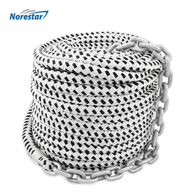Norestar Double-Braided Nylon Anchor Rode (Windlass Rode): Anchor Rope Pre-Spliced with HT G4 Chain