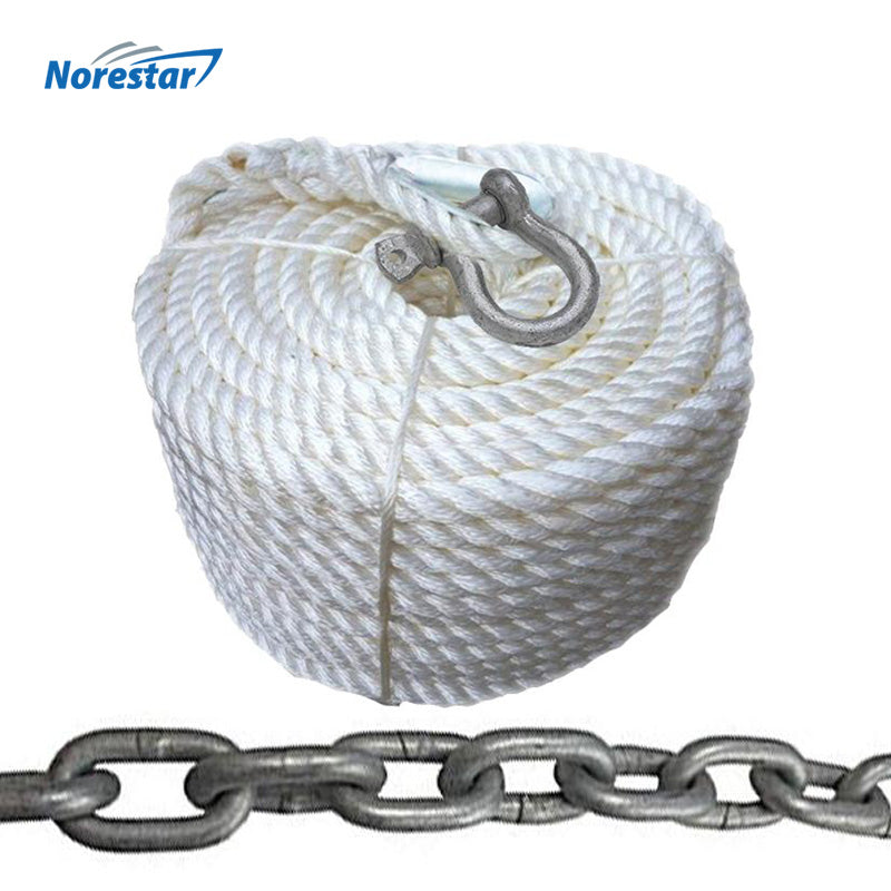 Three-Strand Nylon Anchor Rope w/ Galvanized Chain & Shackle