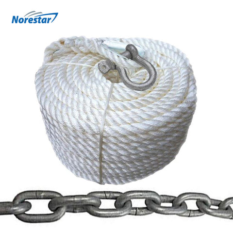 "Double-Braided Nylon Windlass Rope & Stainless Steel Chain (Prespliced 1/4"" HT G4 Chain)"