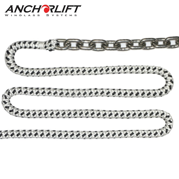 Anchorlift Double Braided Nylon Rope Spliced with Stainless Chain