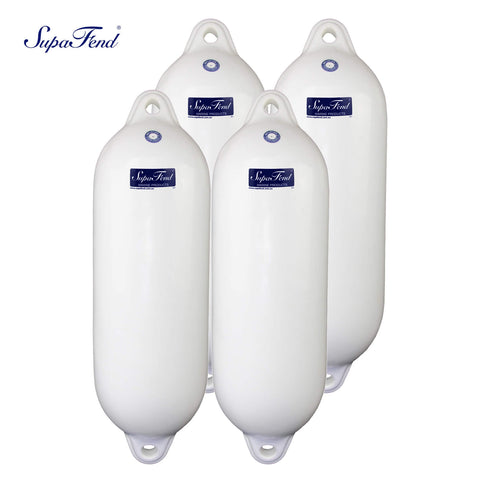 Four-Pack Double-Eye Ribbed Boat Fenders, Deflated