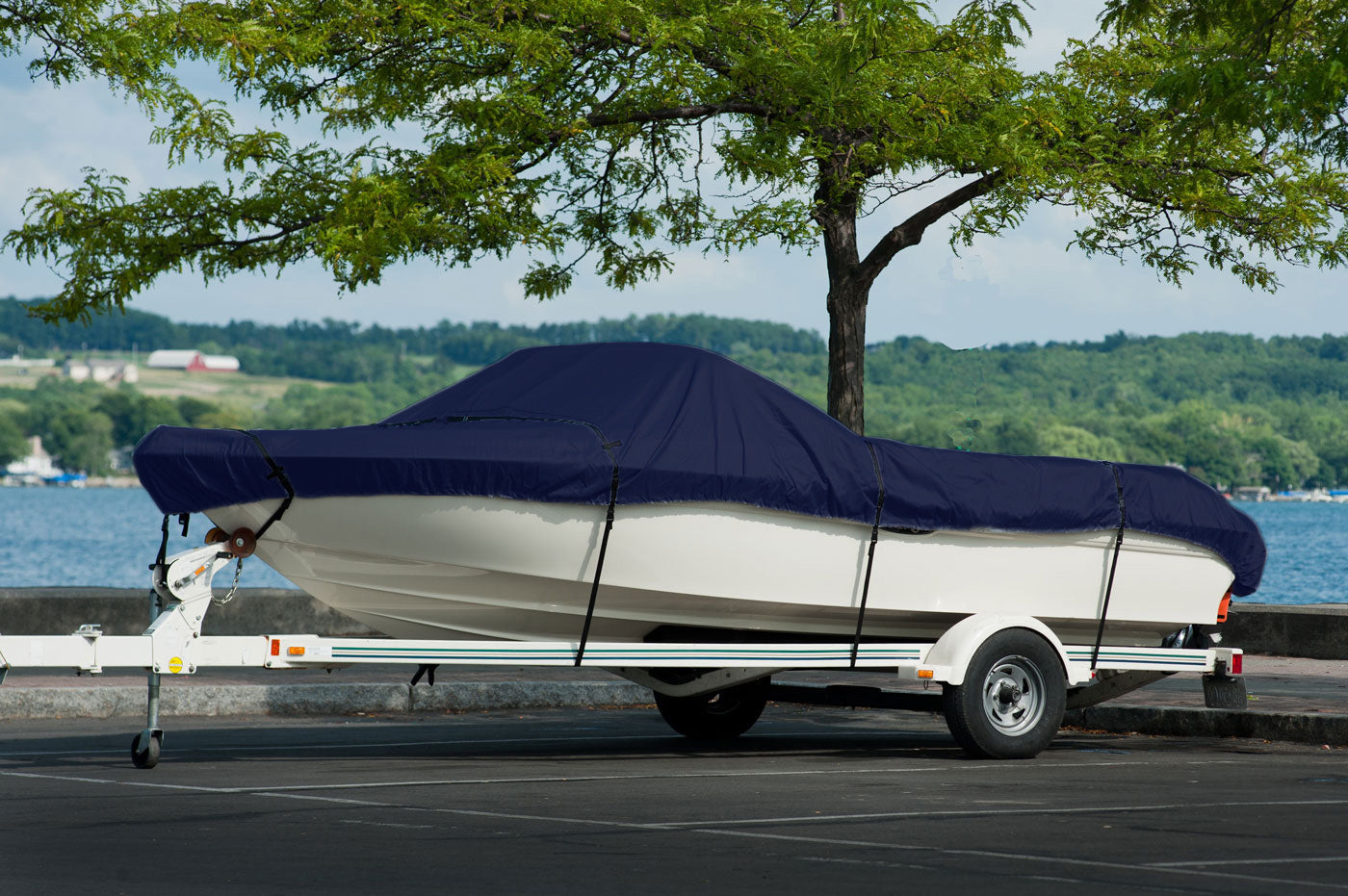 Boat Cover on Trailer - Blue