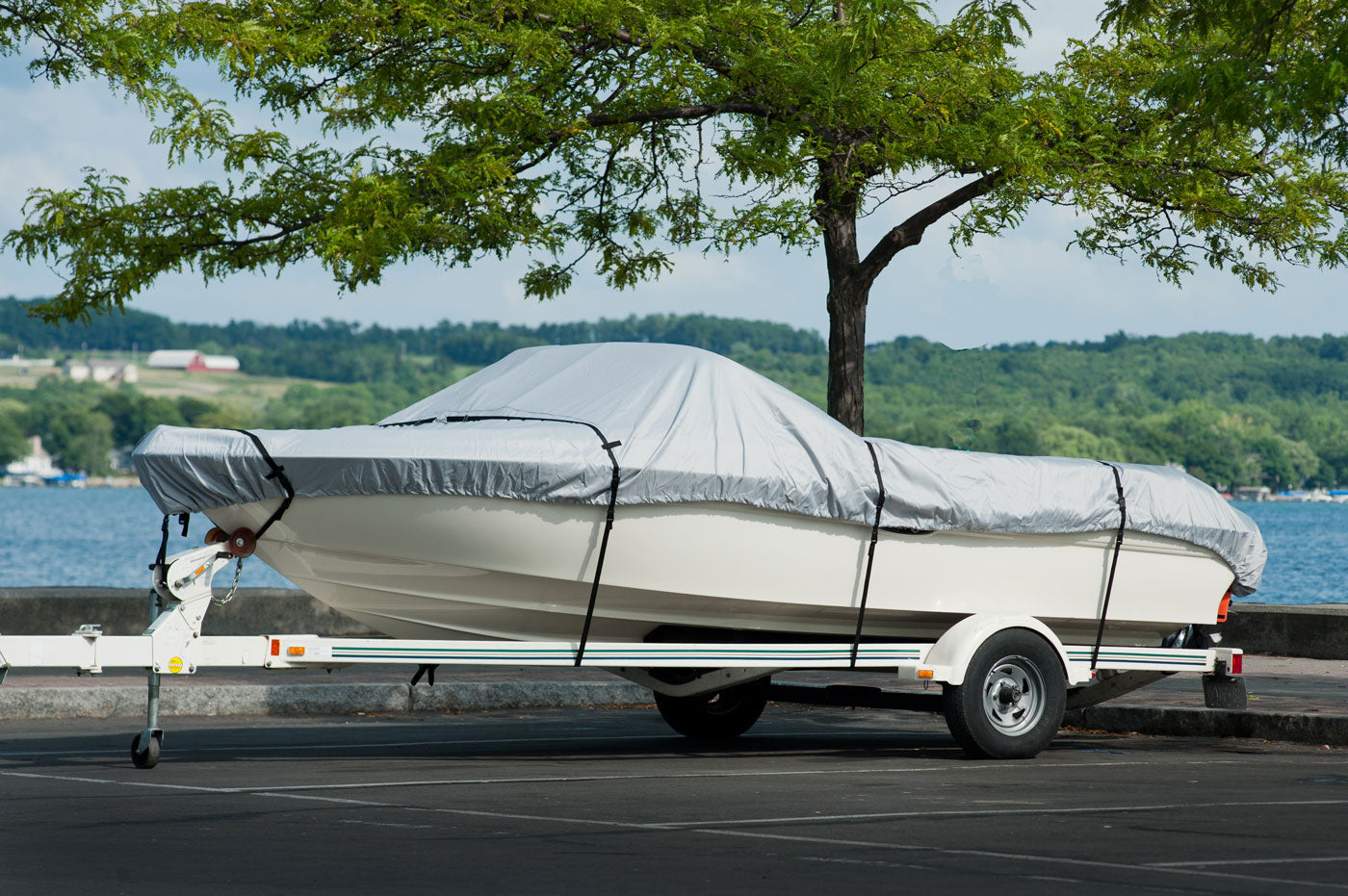 Boat Cover on Trailer - Grey