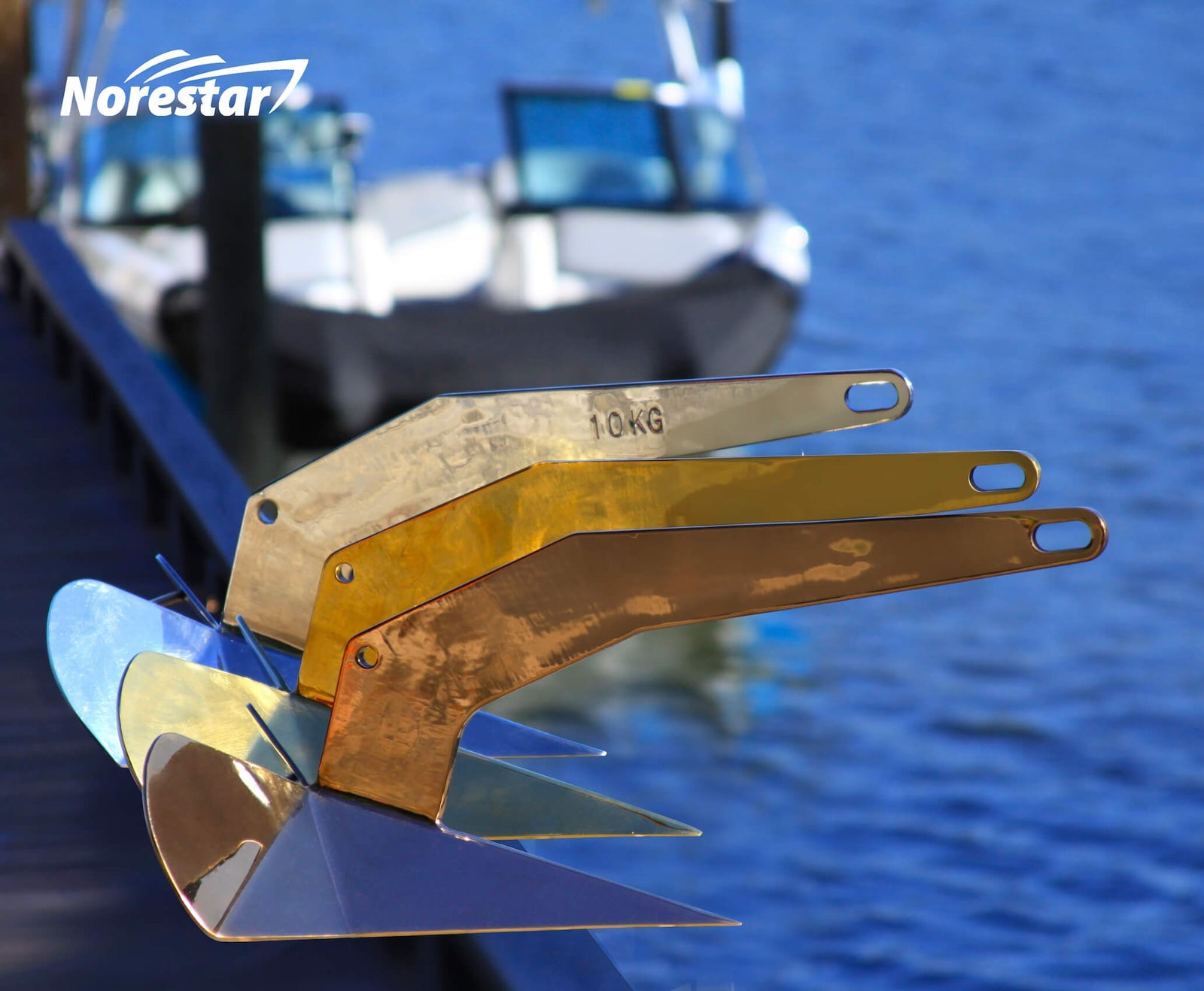 Norestar Stainless Steel Rainbow Wing-Style Boat Anchors Gold Bronze