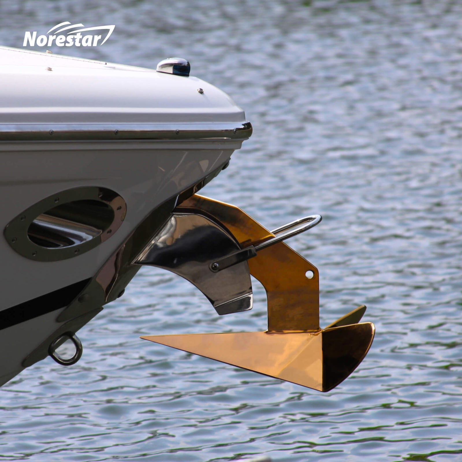 Norestar Stainless Steel Rainbow Wing-Style Boat Anchor on BoatBronze Side