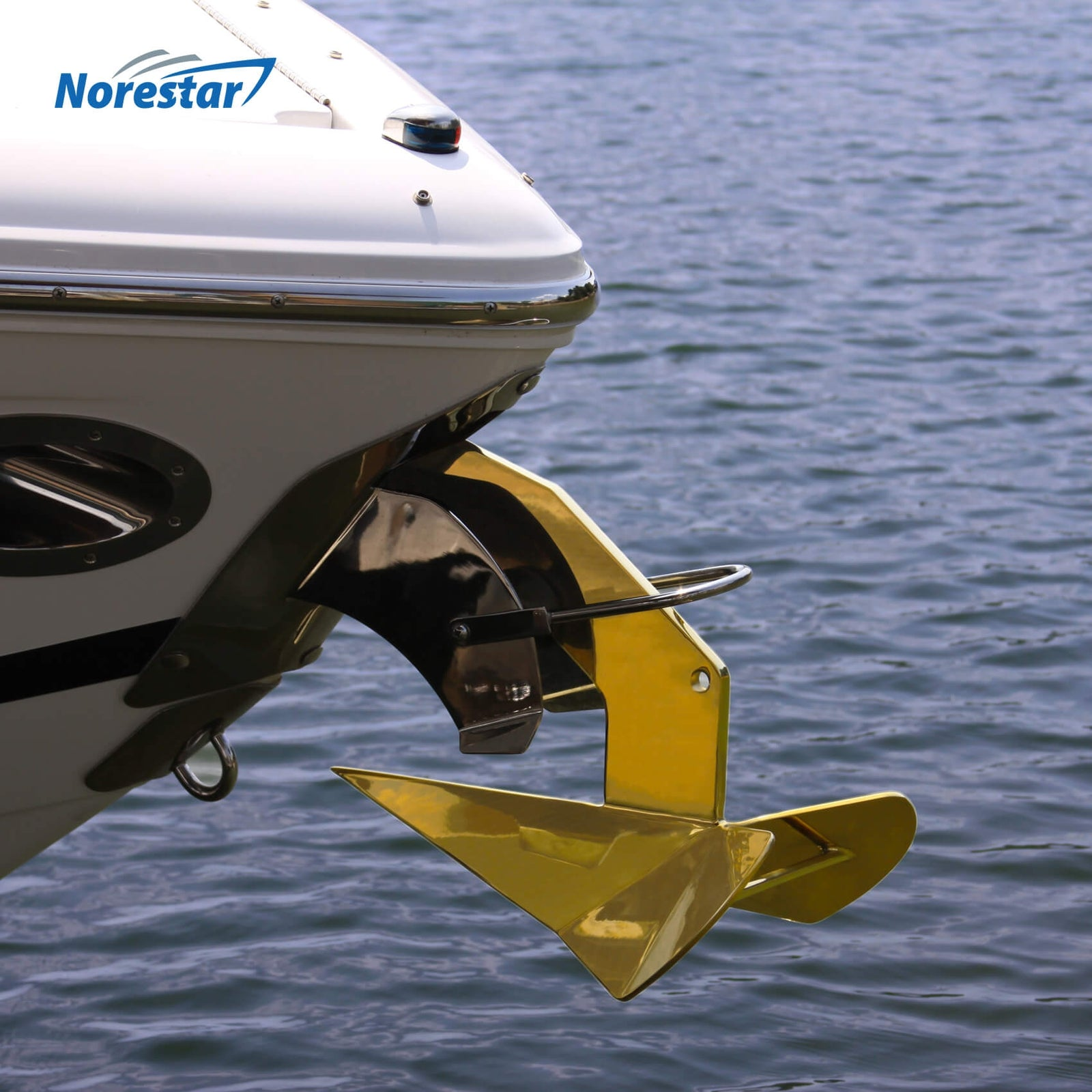 Norestar Stainless Steel Rainbow Wing-Style Boat Anchor on Boat Gold Side