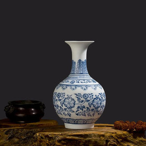 Handcrafted Blue and White Flower Porcelain Vases- 4 Designs! - The Ru Store