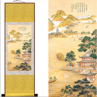 """A Ru (Confucian) Welcoming Friends From Afar"" Silk Scroll Landscape Painting"