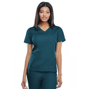 Cherokee Women's Workwear Mock Wrap Tunic - 4801 - 3 Pockets *MIN 12 QTY