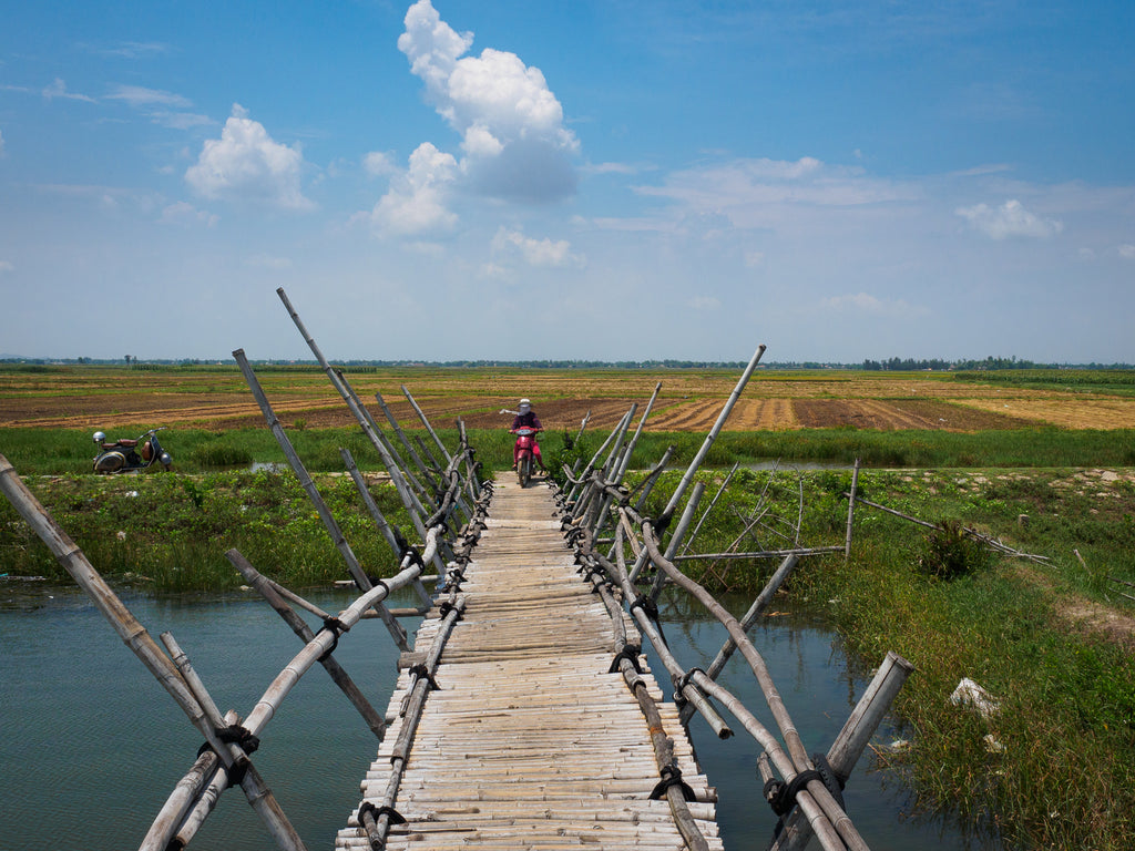 Bamboo bridge in Hoi An, Vietnam Vespa Adventures