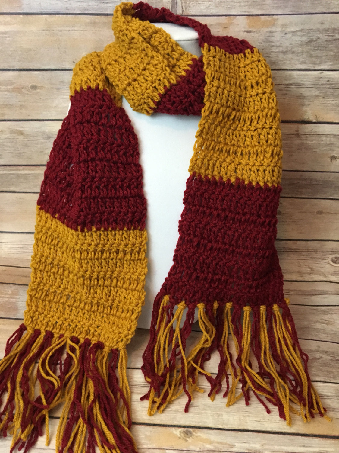Harry Potter scarf in any house colors / Crocheted Harry Potter ...