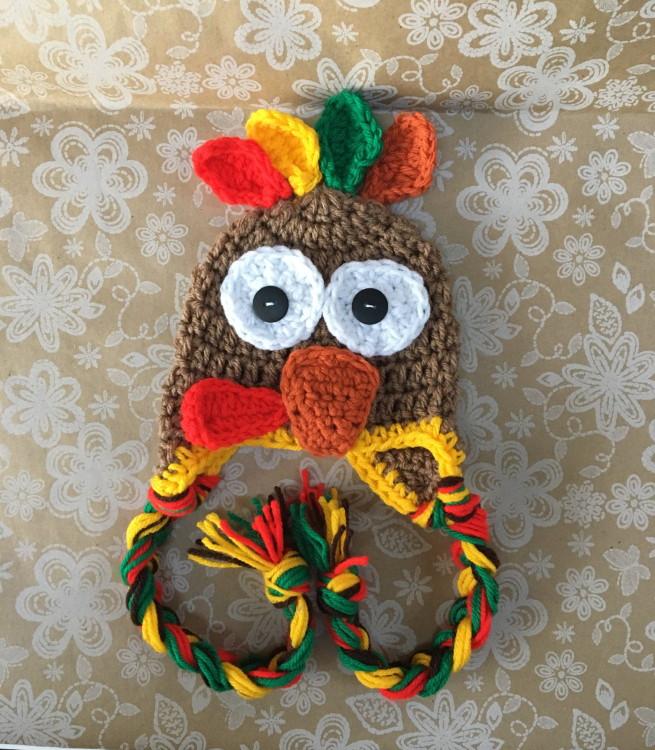 Hand crocheted baby turkey hat thanksgiving hat   made to order in sizes  newborn through adult ... 06664c170fb