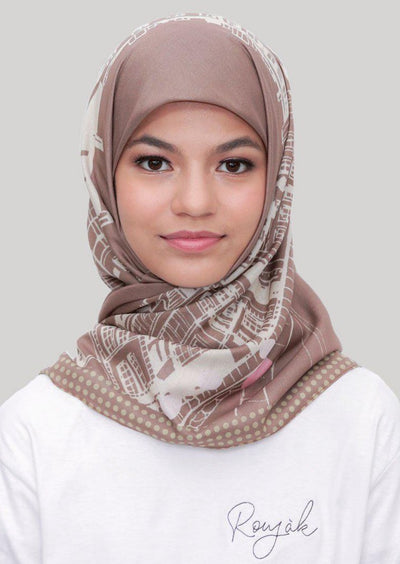 Le Hijab Bridge Cinnamon, Carré 115, Ultrafine Premium Voal, Roujak