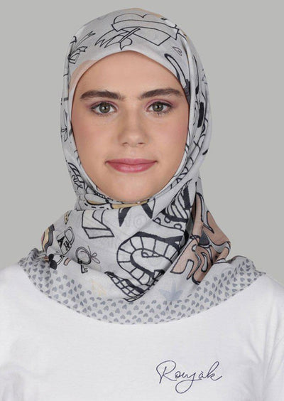 Le Hijab Graffiti Moutarde Gris, Carré 115, Ultrafine Premium Voal, Roujak