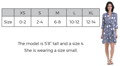 Naples Shirt Dress Size Guide