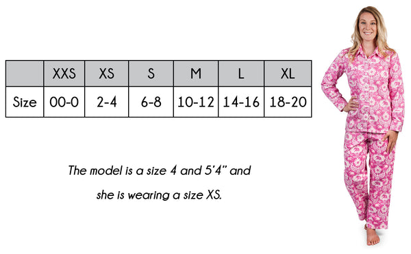 Women's Luxe Pajama Set Size Guide