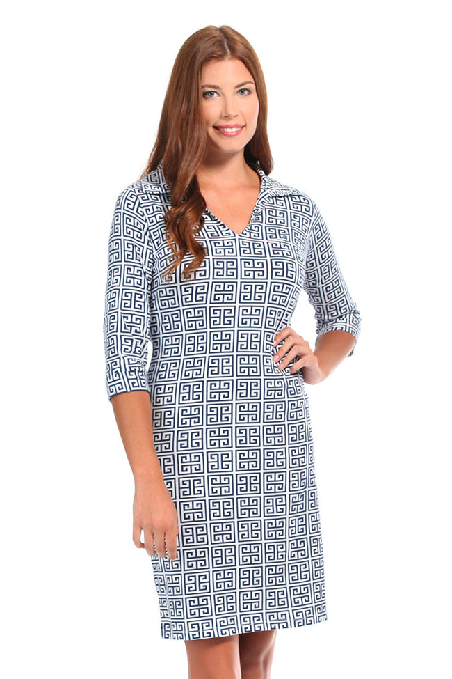 Greek Key Navy Hamilton Dress