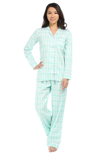 Sea Kisses Aqua Cotton Sateen Pajama Set