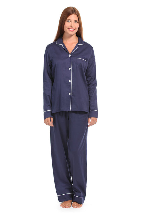 Navy With White Sateen Pajama Set