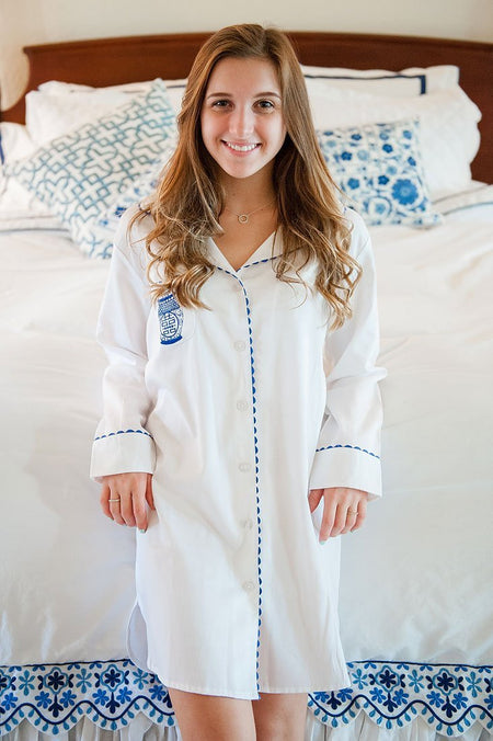 Greek key Navy Boyfriend Shirt