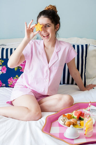 Blush Pink Cotton Poplin Summer Pajama Set