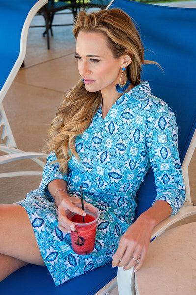 Color Burst Blue Hamilton Dress