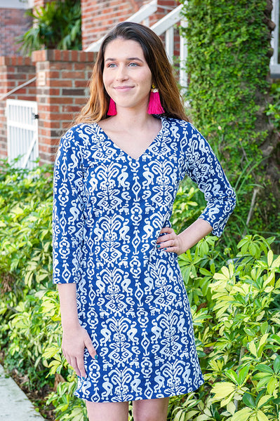 Ikat Navy Zanzibar Dress