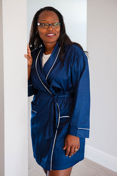 Navy with White Sateen Robe