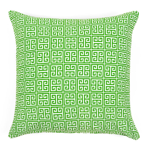 Greek Key Green Pillow Cover