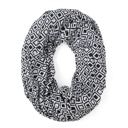 Modern Squares Black Infinity Scarf
