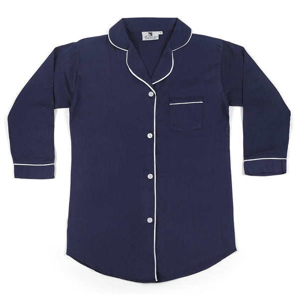 Navy With White Sateen Boyfriend Shirt