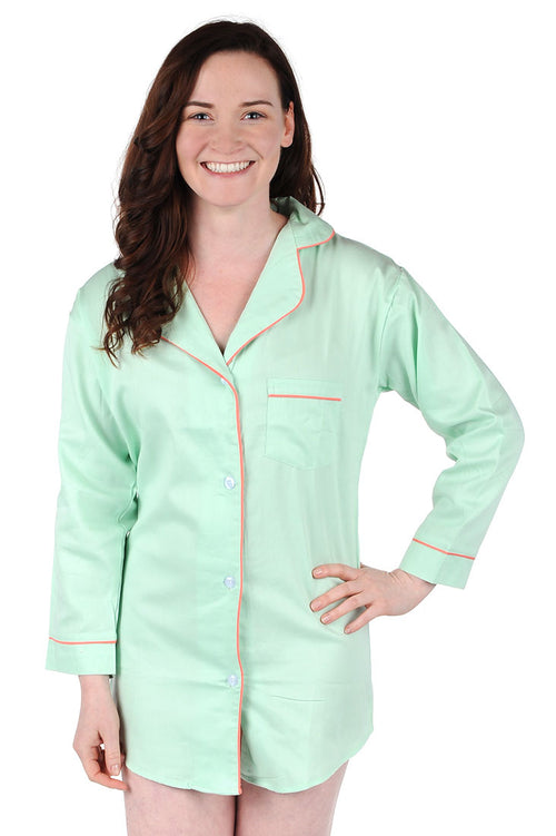 Green With Coral Sateen Boyfriend Shirt