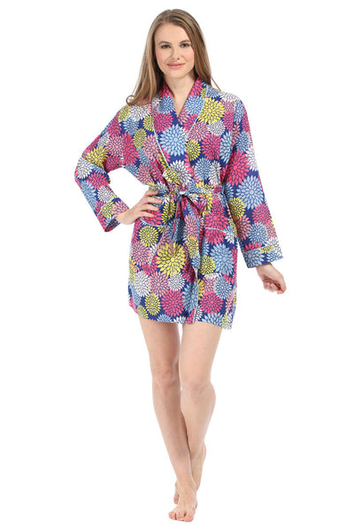 Floral Pop Navy Robe