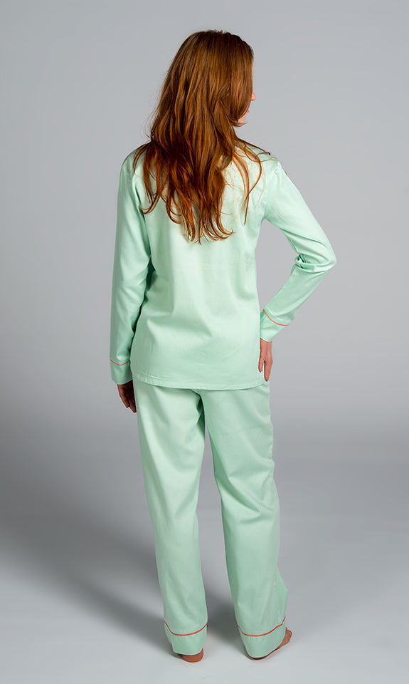 Green With Coral Sateen Pajama Set