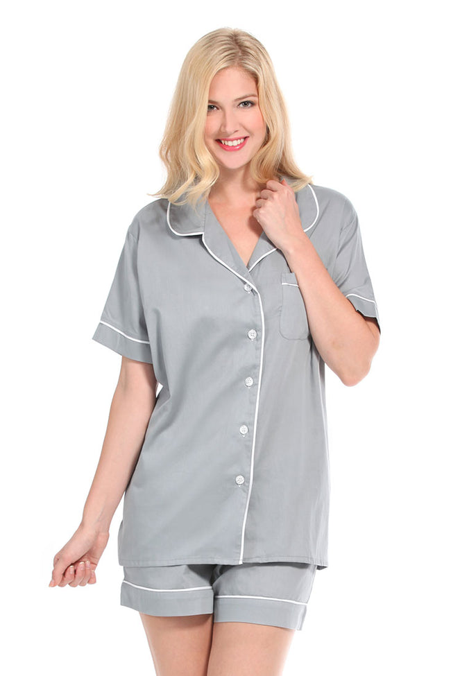 Grey With White Sateen Summer Pajama Set