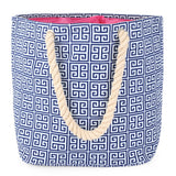 Greek Key Navy Newport Tote